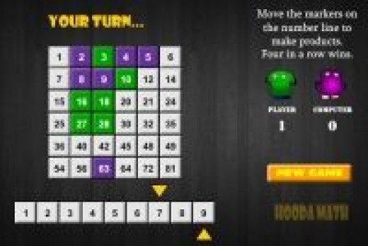 Four in a Row Interactive Multiplication Game