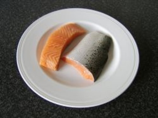 Fresh salmon loin and tail fillet