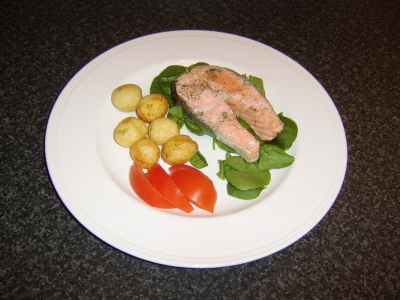 Baked Salmon Steak with Pan Roasted Potatoes and Salad