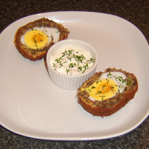 Haggis Scotch Egg with Garlic and Chive Mayo