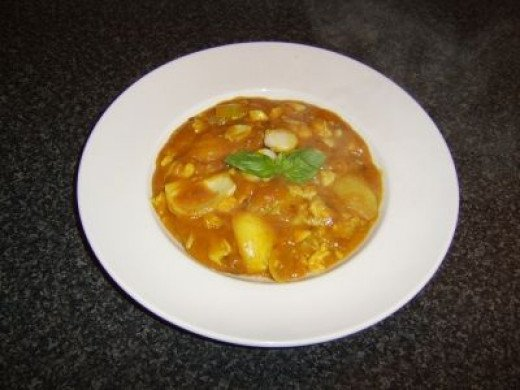 Delicious and succulent coley fillet in a rich curry sauce