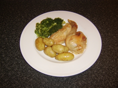 Citrus Fruit and Thyme Roast Chicken with New Potatoes and Broccoli