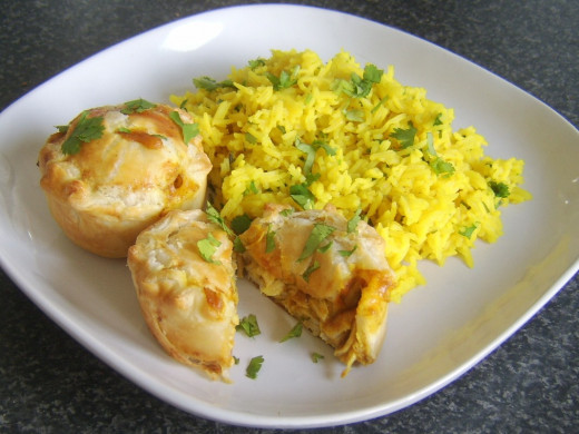 Turkey Curry Pies with Spicy Rice