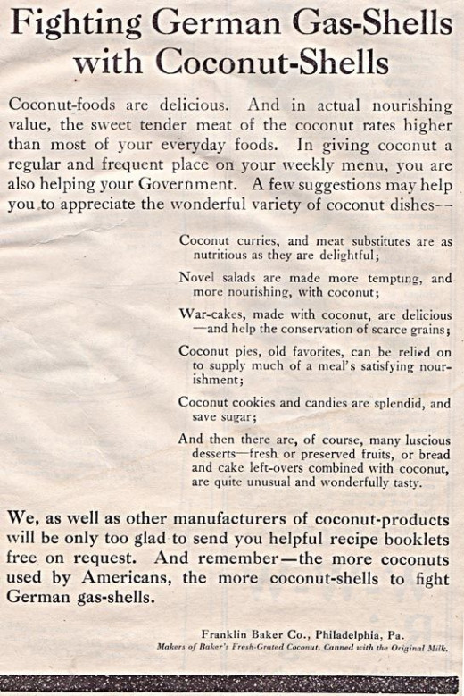 Coconut Usage Request Ad from 1918