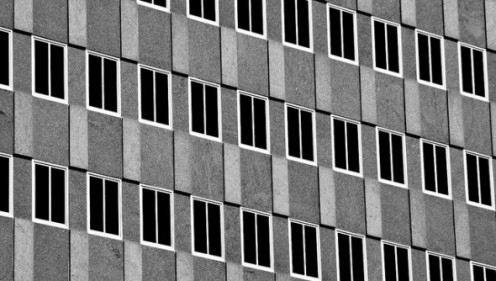 This photo of a building, by Matthew Juran, illustrates another Necker effect. It shows an optical effect of the windows. Source: Matthew Juran, Flickr.