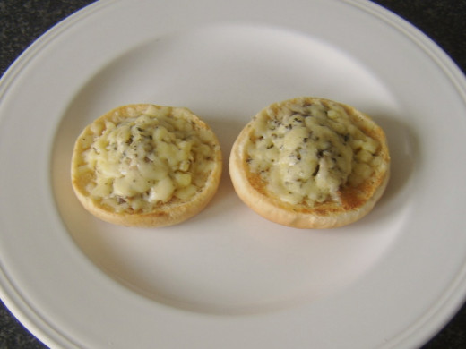 Cheese, sage and turkey open sandwiches