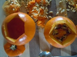 Removing String and Seeds from Pumpkins