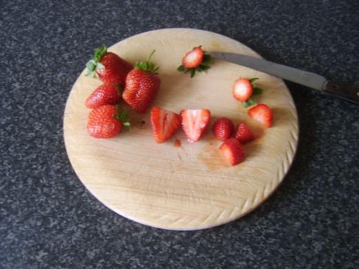 Preparing and chopping strawberries