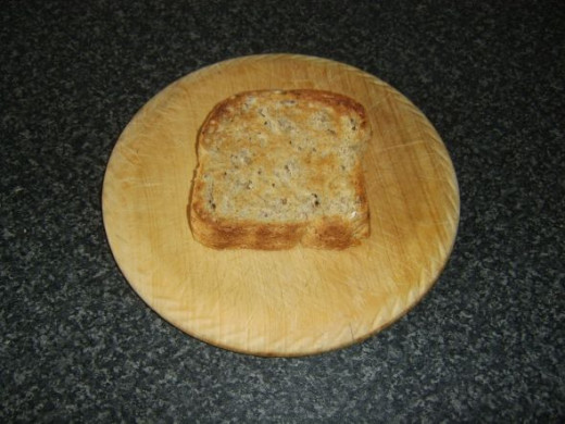 Granary bread is toasted on one side