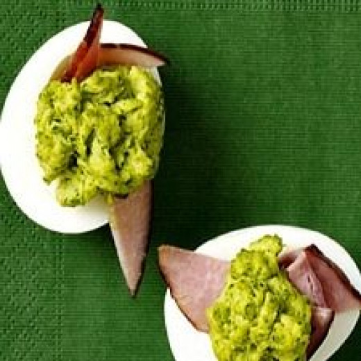 Emerald Green Deviled Egg Bites