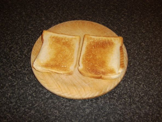 Bread is toasted on one side only