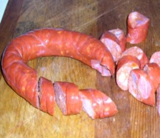 Chop Portuguese Sausage and Add to Portuguese Bean Soup