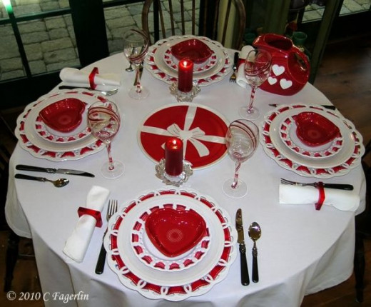Red and white china valentine tablescape