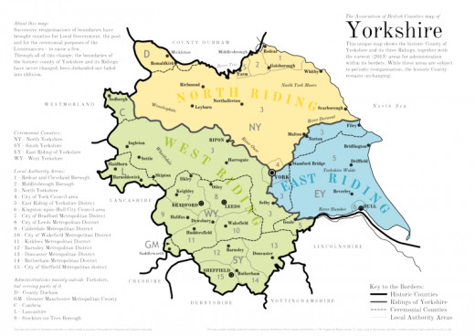 Showing the original Yorkshire Ridings (Thirdings), the area above comes under both North and West Ridings, since 1974 now wholly in North Yorkshire