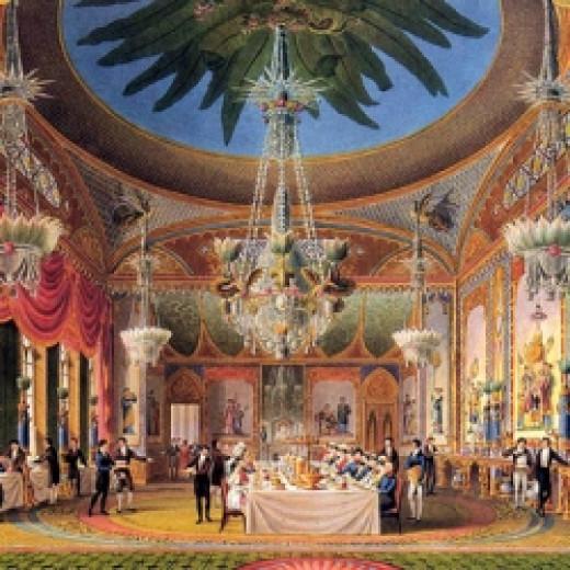 The Banqueting Room at the Royal Pavilion in Brighton from John Nash's Views of the Royal Pavilion (1826).