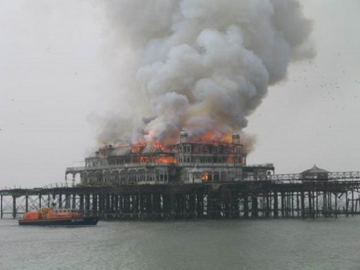 Brighton's West Pier on fire