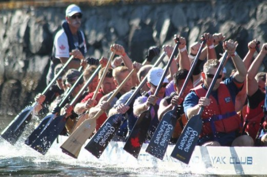 Gorging Dragons Men's Team competes in Victoria's Guts & Glory 1250 meter race.Twenty-paddler teams race in two 1250 meter (just over 3/4 of a mile) heats, and the combined time for both is used to determine final placement. Strategies in play