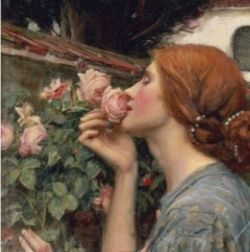 """Detail from """"The Soul of the Rose"""" by John William Waterhouse"""