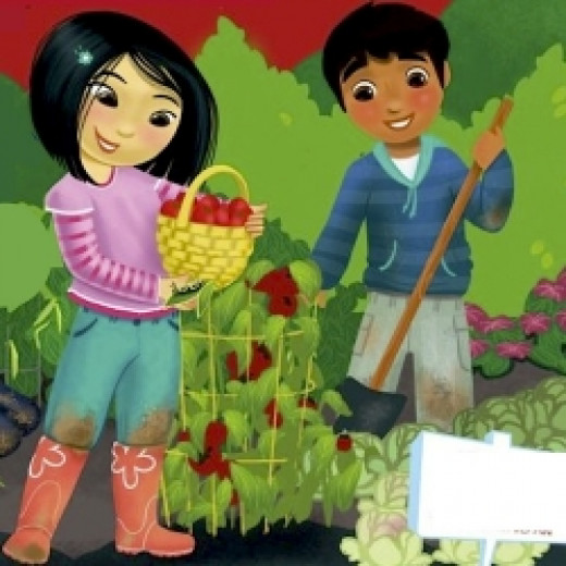 """Detail of cover art from """"Grow a Garden,"""" a Gardening Book for Chlldren. The book is Available at"""