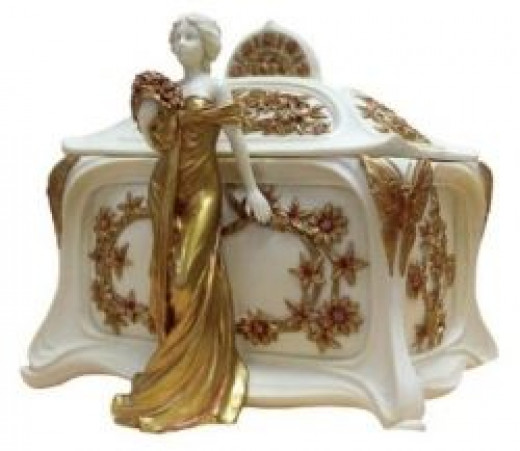 Art Nouveau Lady Jewelry Box