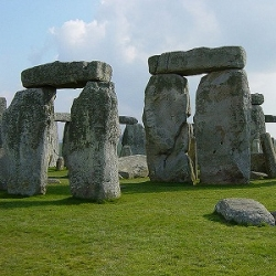 A close up view of some of the largest stones in Stonehenge