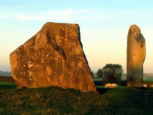 Stones in Avebury Stone Circle in a field where sheep graze