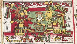 A representation of Mixtec kings drinking chocolate from the Codex_Zouche-Nuttall. Source, Wikipedia.