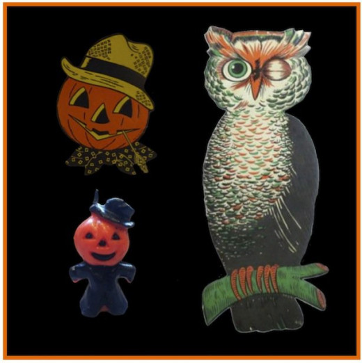 Jack-o-lantern and Owl Halloween decorations with Pumpkin Head Candle