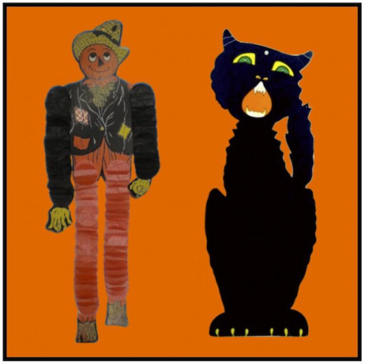 Accordian legged scarecrow and black cat to hang