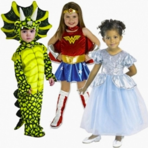 Left to Right: Triceratops, Wonder Woman, and Cinderella Toddlers' Costumes. Details below.