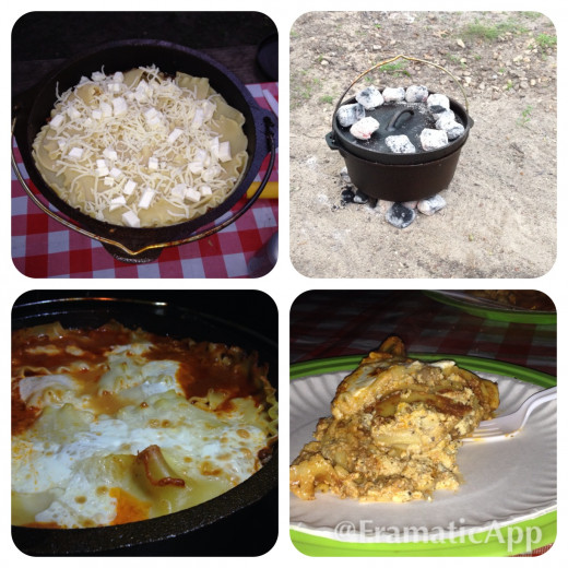 Start to finish Dutch Oven Lasagna while camping