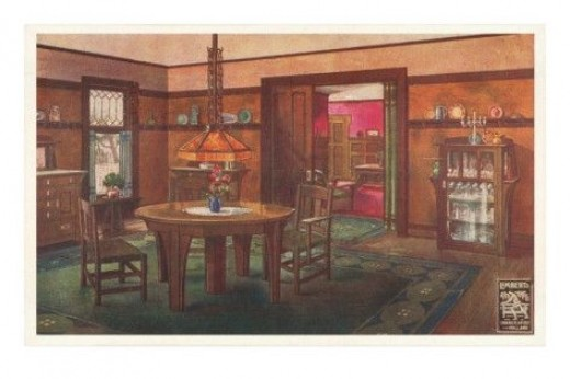 A rendering of an interior from a Craftsman style home. Note the high wood railings, slat-back chairs, mica chandelier, area rugs, and earthtone colors. This picture is available in a variety of sizes and formats at