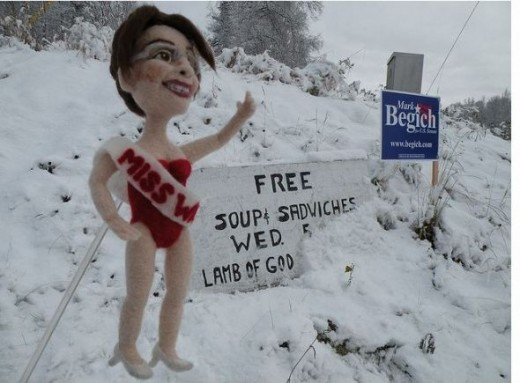Little Sarah Palin as Miss Wasilla in her sheep's clothing, literally.