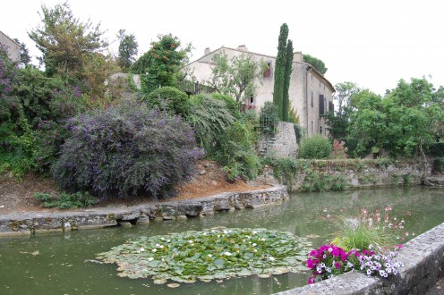 The village pond near to the 'Porte d'Aval once a part of the moat for the medieval castle.