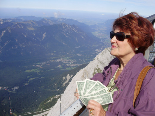 Rita Leierer Holds The Five Dollars at the Summit of Zugspitze
