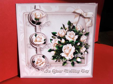 Layered white rose card