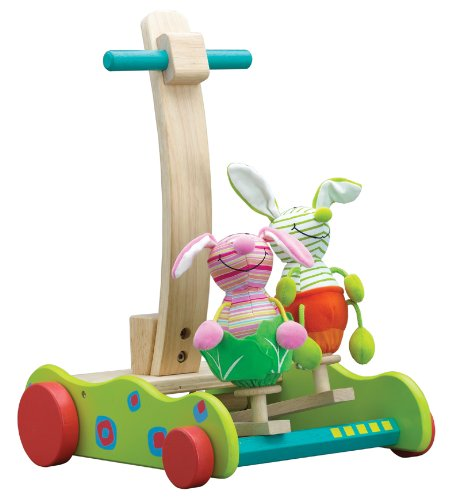 Wonderworld Hopping Bunny Walker - Take the two bunnies for a ride. They hop up and down as the child pushes the walker. Pink and green bunnies are detachable and the fabric they're made of is biodegradable. For children ages 12 months and up. Made w