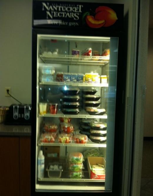 The cafeteria refrigerator case