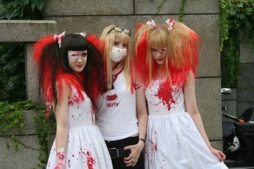 Guro Lolitas play on blood and gore