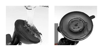 Dirt accumulated on the suction cup's sticky surface can be easily cleaned by running it under a tap. Image Credit - Exomount