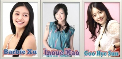 The 3 pretty ladies acting as Tsukushi Makino in the Taiwan, Japan and Korean remakes of HYD!