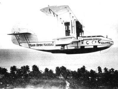 Daily Flight to Bimini, Nassau, Bahamas - 1922 - The Closest Wet Spot to the USA During Prohibition
