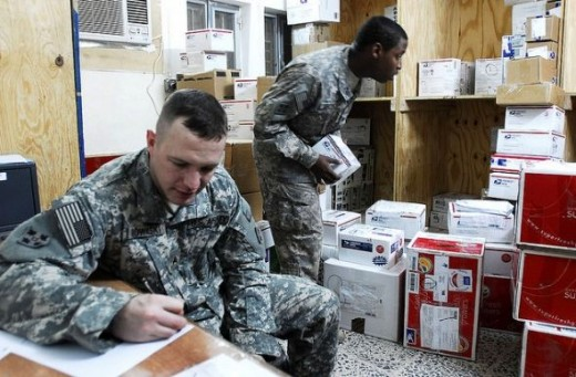 Soldiers Receiving Care Package