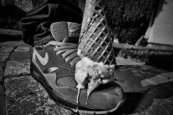 Ice cream on shoe