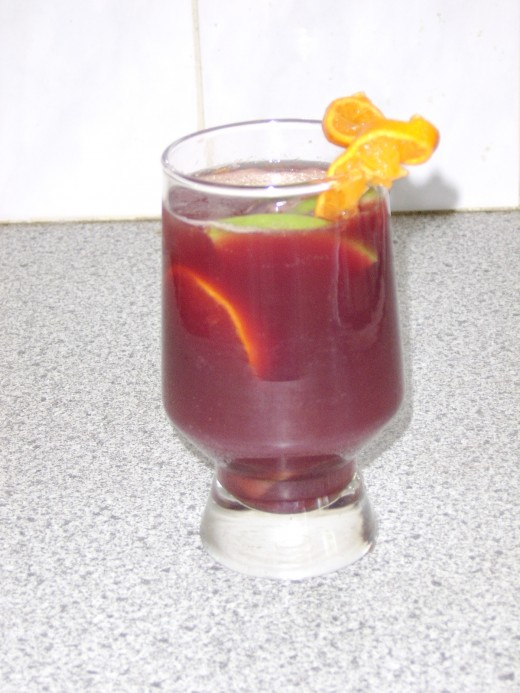 A glass of the finished Sangria