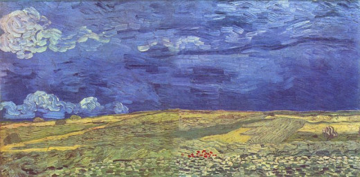 Wheat Field Under Clouded Sky - Van Gogh