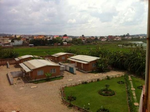The hotel bungalows viewed from the top of the admin building.