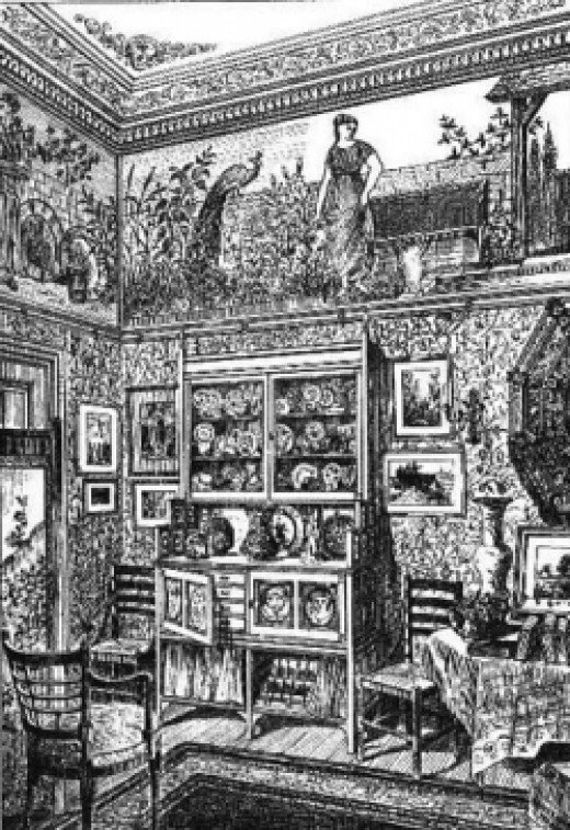 Period illustration of a corner of an 1880 Victorian parlor with its plethora of patterns