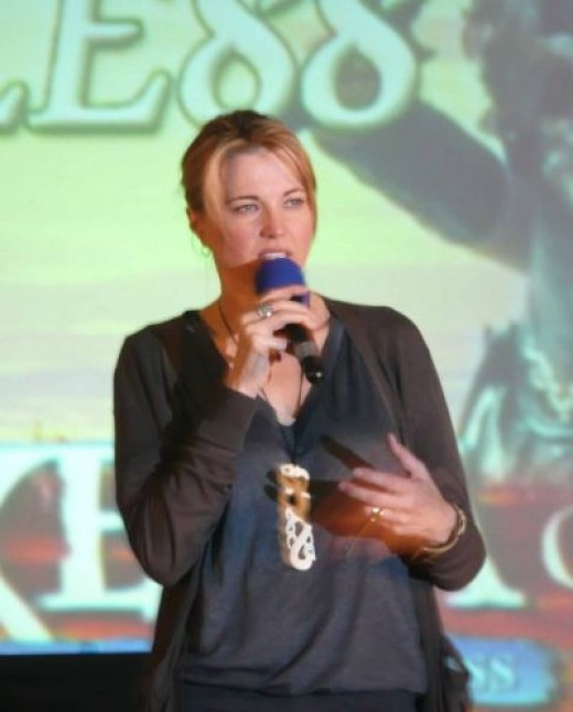 Lucy on stage at Xena London 2008. © MissMerFaery