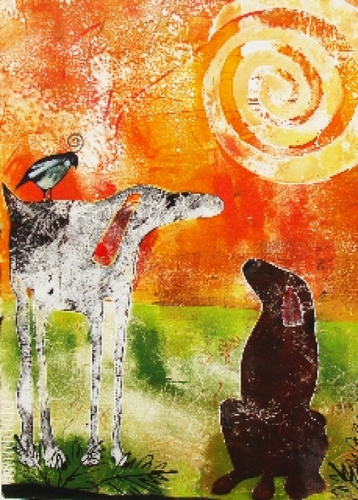 Monoprint by Kathy Spear. Explore monoprint at one of Kathy's workshops when vacationing in Southern California.